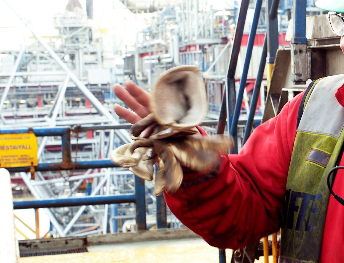 Nærbilde av Nordsjøarbeider. Foto.