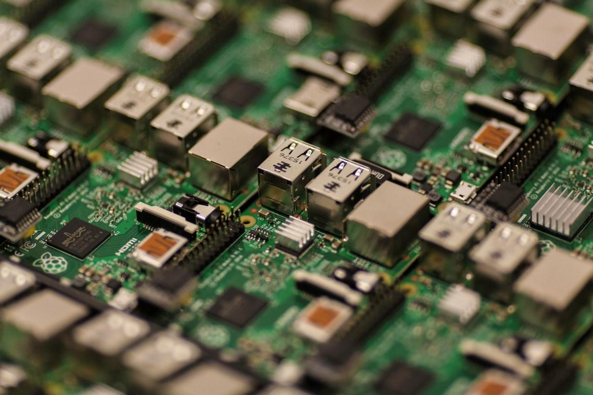 Nærbilde av hovedkort i datamaskin. Foto.